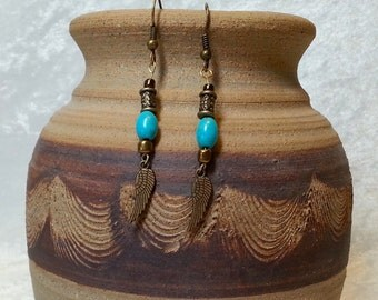 Native American Inspired Earrings - Boho Turquoise and Wing Earrings - Turquoise and Antique Bronze Earrings - Gypsy Boho Jewelry