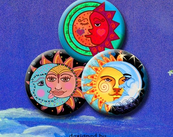 SUN AND MOON -  Digital Collage Sheet 1 inch round images for bottle caps, pendants, round bezels, etc. Instant Download #220.