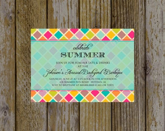 Summer Party Invitation - Backyard Barbeque Invitation - Company Picnic Invitation - Celebrate Summer Invitation - Fellowship Invitation