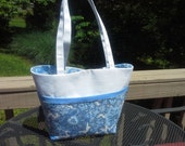 Ocean Blue Paisley & White Bucket Bag