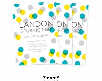 Boy Polka Dot Birthday Invitation. Gray Teal Yellow Invitation. Kids Birthday Invite. Printable Custom Boy Birthday First Birthday Invite