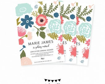 Floral Printable Bridal Shower Invitation. Printable customizable Bridal Shower Baby shower Invite. Floral Spring Modern Invitation