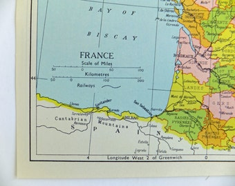 France Map, Small Vintage Map of France 1920's or 1930's map, paper ephemera, small map