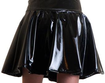 Glossy Skirt Black vinyl pvc like shine round circle glam rock zipper goth romantic gothic dark - Made in Italy
