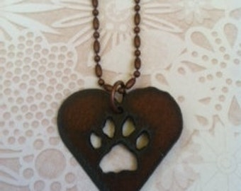 Iron rusted heart paw necklace