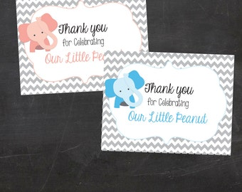 Thank you for Celebrating our Little Peanut - Elephant Thank you note - Chevron - Includes both Pink and Blue File (Instant Download)
