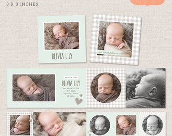 3x3 Mini Accordion Album Template - Newborn album template for photographers MA006 - INSTANT DOWNLOAD