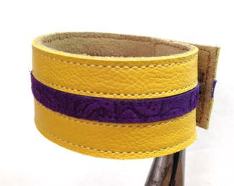 Yellow and purple striped leather bracelet cuff, leather braclet, leather braclet cuff.