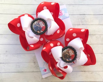 ANNIE BOWS - Annie Costume - Pigtail bows - Annie Birthday - Shoe toppers - Annie Party - Red Polka dot bows