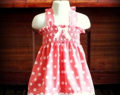 Vintage Pink & White Polka Dot Smocked Dress by Steady As She Goes baby girl toddler 3 6 12 18 24 mo 2T 3T salmon coral pinafore sundress