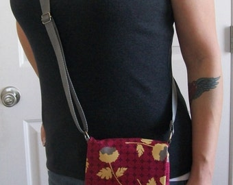 Crossbody Messenger Style Bag, Red Geometric Pattern with Yellow and Grey Flowers Messenger Bag, Medium Bag, Messenger Bag, Shoulder Bag