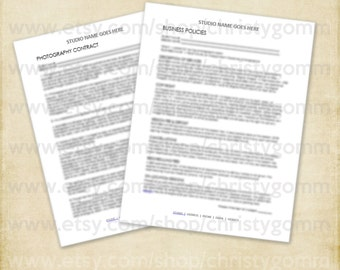MS WORD Photography Contract and Business Policies for Photographers Photography Business - Word Doc SB0030