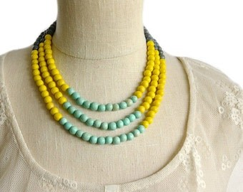 beaded necklace / mint green and yellow necklace / spring 2016 necklace / turquoise yellow grey necklace / colorful necklace / colourful