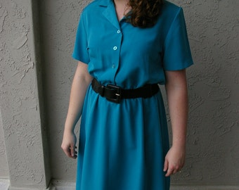 80's Blue Collared Work/Play Dress Size 10