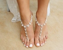 Barefoot sandals with rhinestones and pearl beads. Beach Wedding barefoot Sandals, Silver Pearl Anklets, Foot Jewelry - 'LAI LANI B1422'
