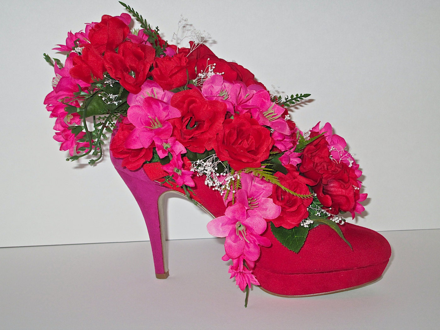 Red velvet high heel shoe vase with by alwaysinbloomfloral
