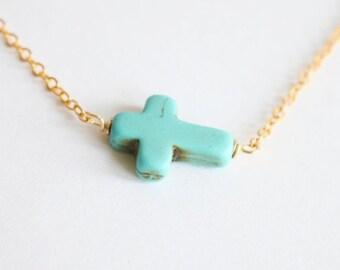 Turquoise cross sideways raw crystal necklace,raw stone jewelry,gemstone necklace,layered necklace,OOAK,boho chic, raw quartz necklace