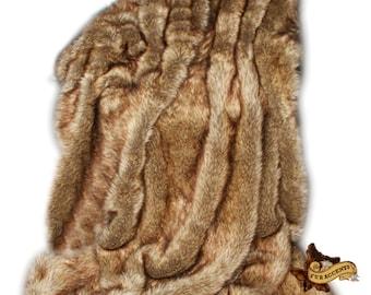 FUR ACCENTS Coyote / Wolf Skin Throw Blanket /  Faux Fur  / Bear Pelt / Plush Soft Minky Cuddle Fur Lining