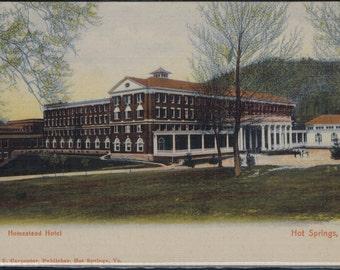 Antique Homestead Hotel Hot Springs Virginia Litho Postcard Undivided Back Unused