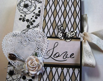 Handmade Mini Album  - Wedding Album, Ready to Ship. Places to Hold over 40 Memories