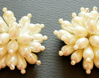 White Flower Applique, White Pearl Beads Applique - 030315A216