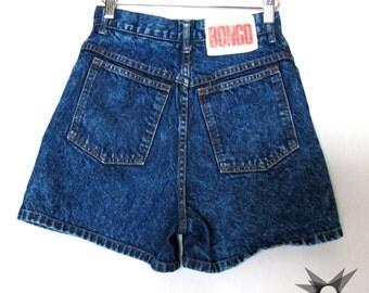 Vintage 1980's Bongo High Waisted Acid Washed Dark Denim Shorts Size Small