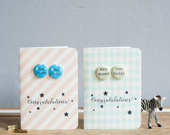 New Mummy & New Daddy Mini Badge Card - New Parents, New Baby Card - variations available