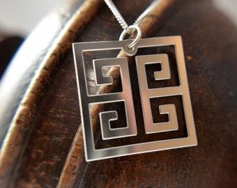 Greek Key Pendant in stainless steel, geometric necklace, geometric jewelry, greek jewelry, silver square pendant, silver square necklace