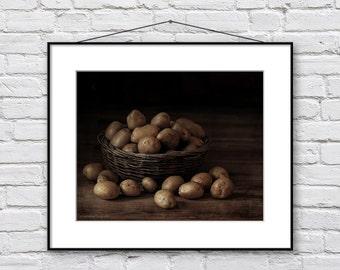 Food Photography, Country Kitchen Wall Decor, Still Life Photography, Fine Art Print, Brown Kitchen Decor Wall Art, Moody Dark Art Print