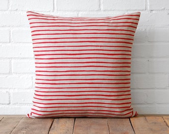 Red Striped Linen Pillow