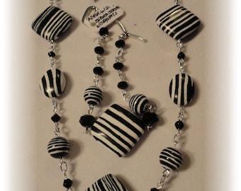Black and White Bracelet . Ethnic Bracelet . ASBR612 Zebra Stripe . Black Crystals by NobleDesigns4U