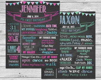 First Birthday Chalkboard of Favorite Things Poster Printable-16x20 - Use for any birthday - Style E