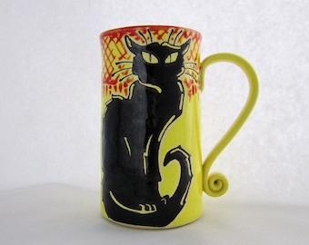 Chat Noir Mug, pottery mug, Halloween gift, birthday mug, black cat, animal art, holds approx 18 oz and is dishwasher and microwave safe.