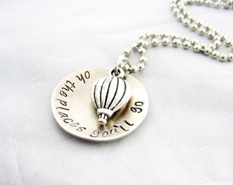 GRADUATION GIFT Hand Stamped - Back to School Gift, Oh the Places You'll Go, Hot Air Balloon Jewelry, Dr. Seuss quote