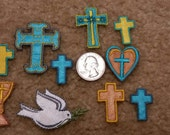 10 Assorted Cross & Religious Patches, Dove with Branch  - Iron On Patches
