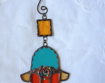 HANDMADE Mini HAMSA HAND Orange,Red and Turquoise Color with Beads. Ethnic Tiffany Stained Glass,Wall Hanging,Original Art Decor,Unique Gift