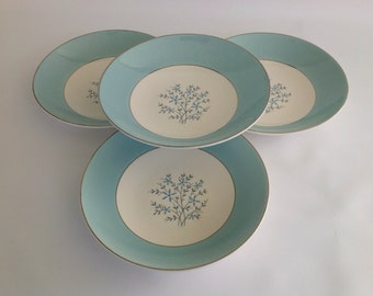 Vintage Set of 4 Cavalier EGGSHELL Aqua Silver and Floral Coupe Soup Bowls by Homer Laughlin, Coupe Bowls, 1950s China Dinnerware