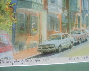 Limited Edition Lithograph Beacon Street,  Signed and Low Numbered