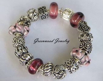 Red Wine, European Style Charm Bracelet - Lampwork Glass And Crystal Beads and Charms