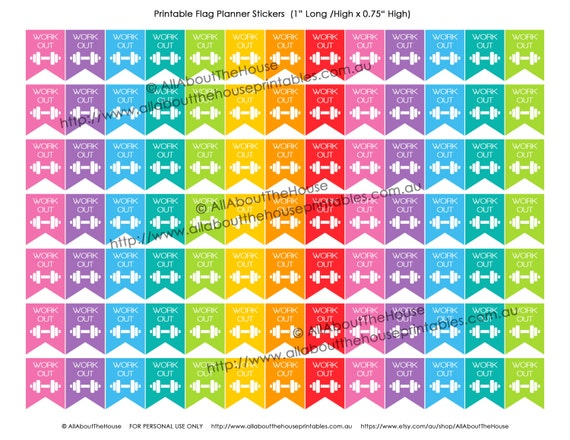 Gym Workout Printable Planner Stickers Flag Banner 1 H X