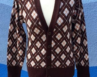 "Vintage 50's 60's Argyle Cardigan Sweater Sz 38"" B"