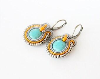 Soutache earrings, drop orange earrings, Beaded earrings, drop turquoise earrings, soutache jewelry, turquoise jewelry, orange jewelry