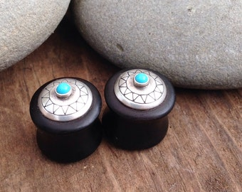 1/2 inch ear plugs, 13 mm ear plugs, 1/2 inch ebony ear plugs, 13 mm ebony ear plugs, turquoise ear plugs, sterling silver ear plugs, boho