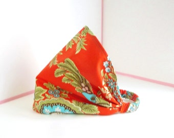 Women's wide headband, sz lg, burnt orange, women's headscarf, gift for her.