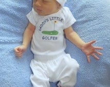 golf baby shirt, golf baby clothes, golf one piece, future golfer baby outfit, golfing baby boy, golfing baby girl, links, 18 holes Ilove2sparkle 5 out of 5 stars.