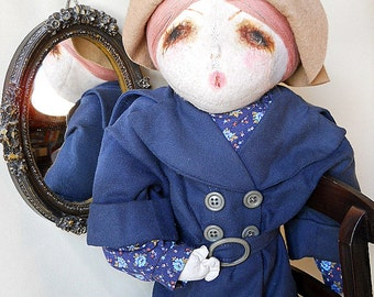 Large 1970s vintage cloth doll with felt head, marked artist Holly Hobbie style fashion doll, old boudoir or bed doll