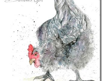 Chicken Greeting Card - Bottoms Up! - Barnyard, Blank Inside