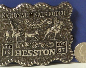 National Finals Rodeo Hesston Pewter Anniversary Fifth Edition Belt Buckle 1987