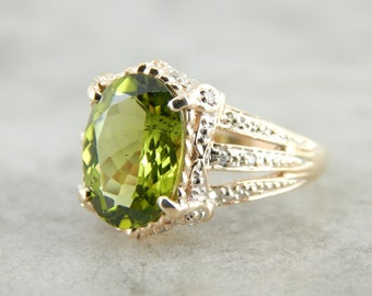 Peridot Cocktail Ring with Olive Undertones XCH01X-P
