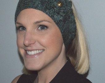 Merino Wool Hand Knit Headband / Ear Warmer in Shades of Green (Item #37)